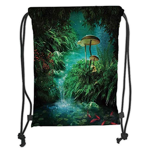 (Custom Printed Drawstring Sack Backpacks Bags,Fantasy Decor,View of Fantasy River with a Pond Fish And Mushroom in Jungle Trees moss eden,Green Teal Red Soft Satin,5 Liter Capacity,Adjustable String C)
