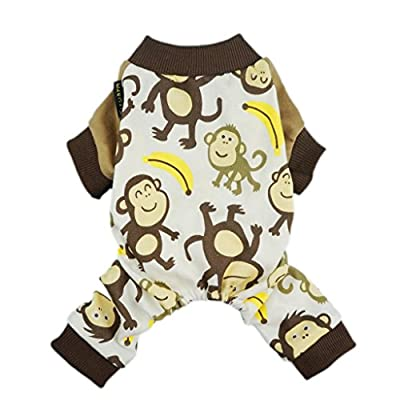 Fitwarm Soft Cotton Adorable Monkey Dog Pajamas Shirt Pet Clothes, Brown