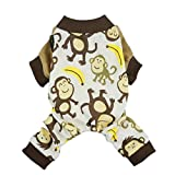 Fitwarm Soft Cotton Adorable Monkey Dog Pajamas Shirt Pet Clothes, Brown, Small