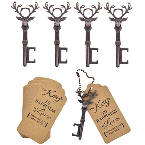 DerBlue 40 PCS Christmas Reindeer Key Bottle Openers,Vintage Key Bottle Opener, Wedding Favors Key Bottle Opener Rustic Decoration with Escort Tag Card(Red -