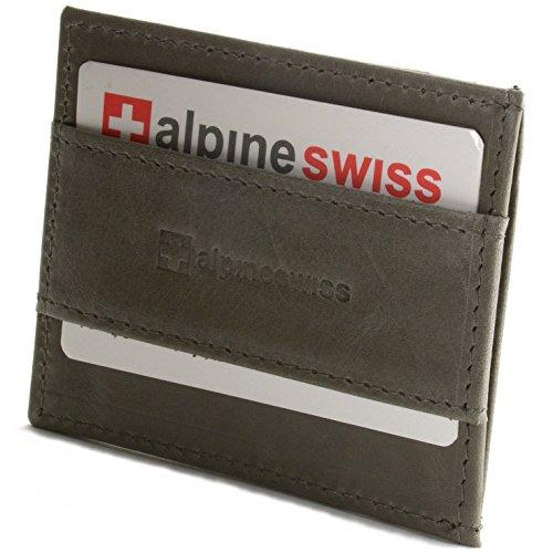 Alpine Swiss Genuine Leather Super Thin Slim Cash Strap Front Pocket Wallet Gray