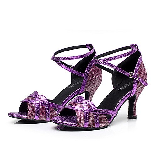 Heel da Q Tango Practice donna Performance Salsa Jazz Chunky Sneakers T da in Scarpe moderne ballo Sandals T Indoor Swing pelle Purple Viola Latin R7txUwq