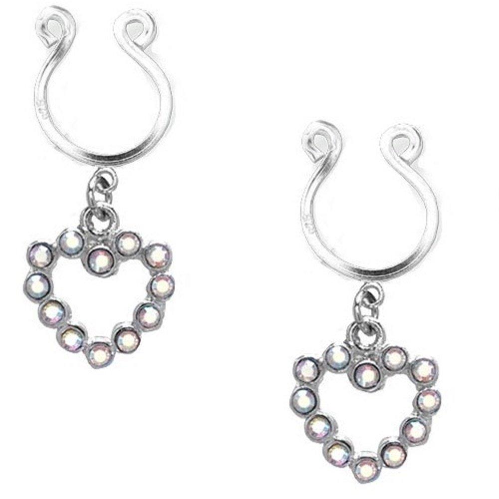 Nipple Ring Bars Cz Rhinestone Heart Dangle Non Pierce Body Jewelry Pair Ch66 BVNP004