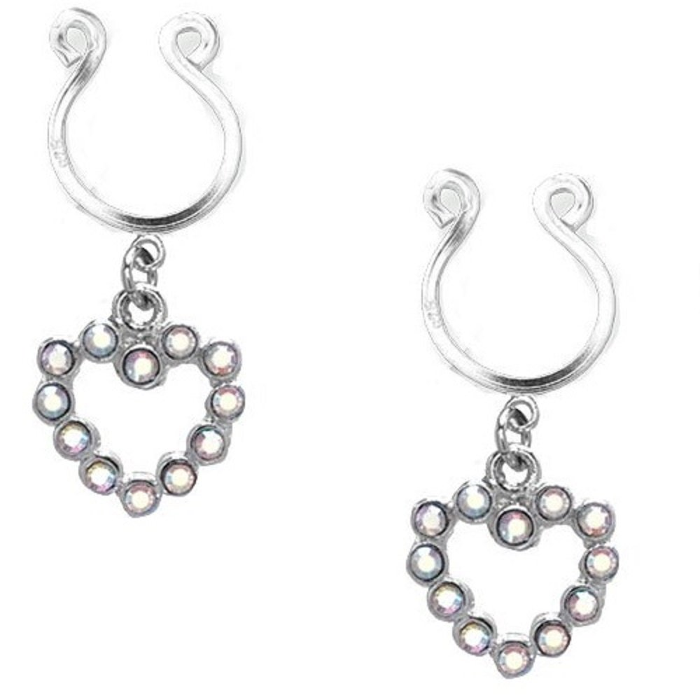 Nipple Ring Bars Cz Rhinestone Heart Dangle Non Pierce Body Jewelry Pair Ch66