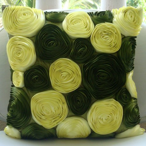 Olive Green Pillows Cover, Botanical Ribbon Rose Flower Pill