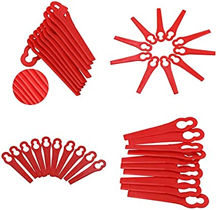 SMAWIS Lot de 100 Lames en Plastique de Rechange Rouge pour Coupe Bordure Florabest pour /équipement de jardinage de tondeuse /à gazon