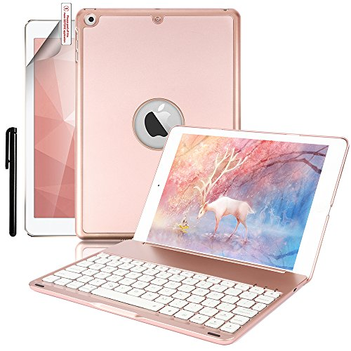 New iPad 9.7 Keyboard Case,Boriyuan Protective Folio Utra Slim Hard Shell Light Weight Stand Smart Cover with Backlit Bluetooth Keyboard and Auto Sleep/Wake for Apple iPad 9.7 2017 Tablet (Rose Gold)