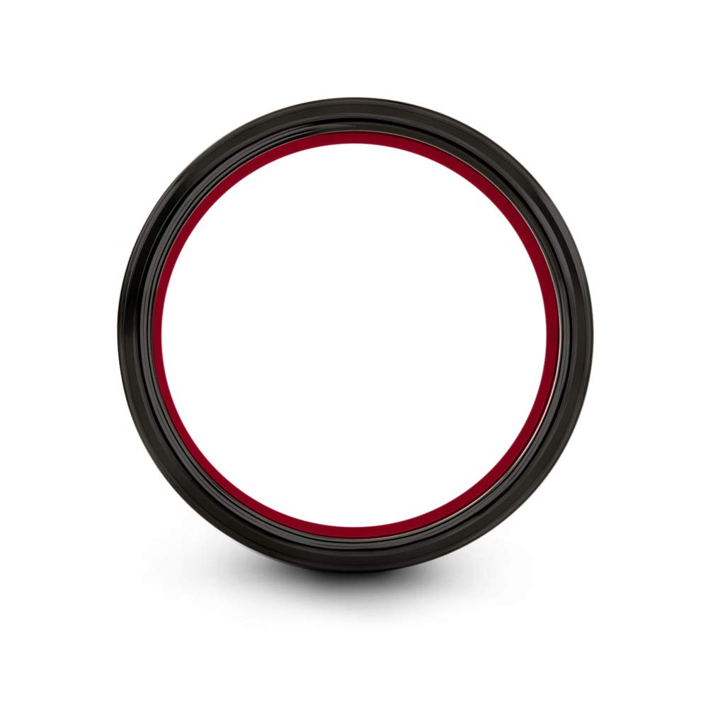 Chroma Color Collection Tungsten Wedding Band Ring 10mm for Men Women Red Interior Red Center Line Step Bevel Edge Black Grey Brushed Polished Size 10 by Chroma Color Collection (Image #2)