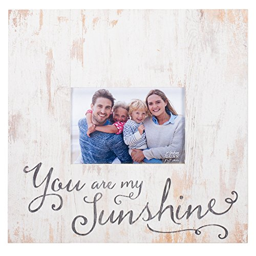 P. Graham Dunn You are My Sunshine White Wash 5 x 7 Solid Pine Wood Tabletop Wall Plaque Photo Frame -