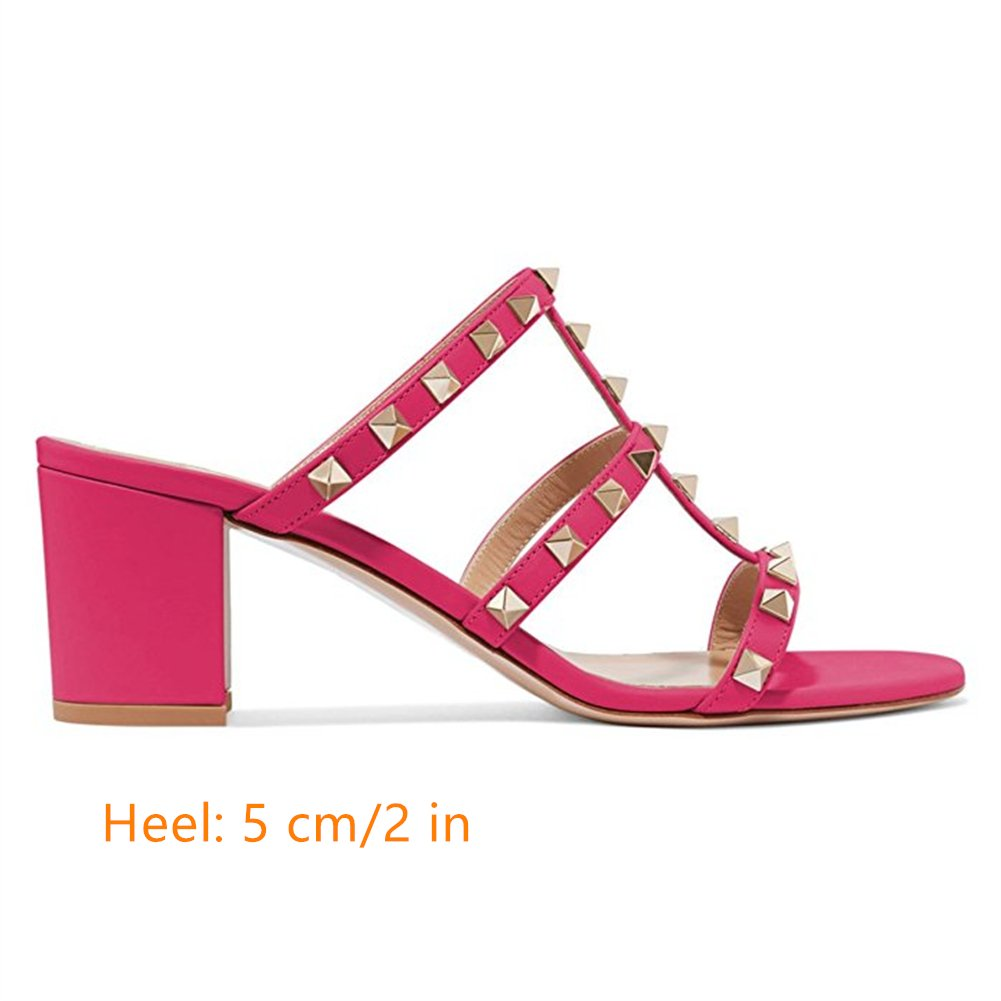 Chris-T Chunky for Heels for Chunky Womens Studded Slipper Low Block Heel Sandals Open Toe Slide Studs Dress Pumps Sandals 5-13 B07DH7SYCX 10|Rose 5cm 15f838