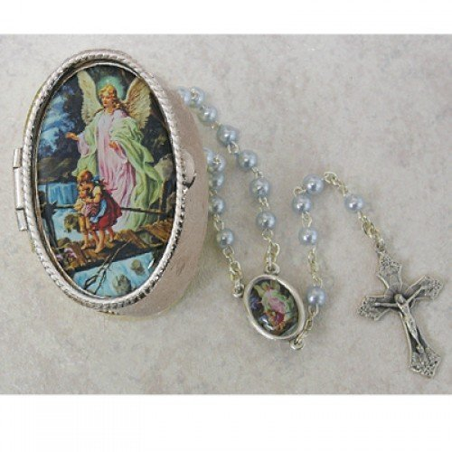 Guardian Angel Baby Rosary with Guardian Angel Keepsake Box great for baptism, baby shower or christening McVan
