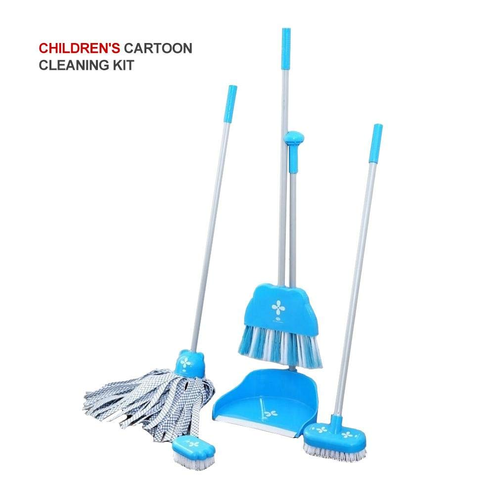 Kids Cleaning Set for Toddlers Broom and Dustpan Set Play Kids Broom for Kitchen Room Office Floor-5 Pieces Set Blue