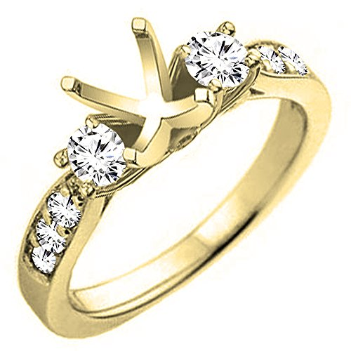 Dazzlingrock Collection 0.45 Carat (ctw) 14K Round Diamond Bridal Semi Mount Engagement Ring 1/2 CT, Yellow Gold, Size 7.5