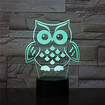for Boyfriend Animal Owl Bird 3D Lamp On Tree RGB 7 Color Change Sleeping Lamp Baby Home Decor Child Kid Night Light