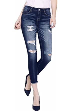 526374a6497 KanCan Dark Distressed Frayed Ankle Skinny Jeans Pants Casual Denim Stretch  Ripped (5)