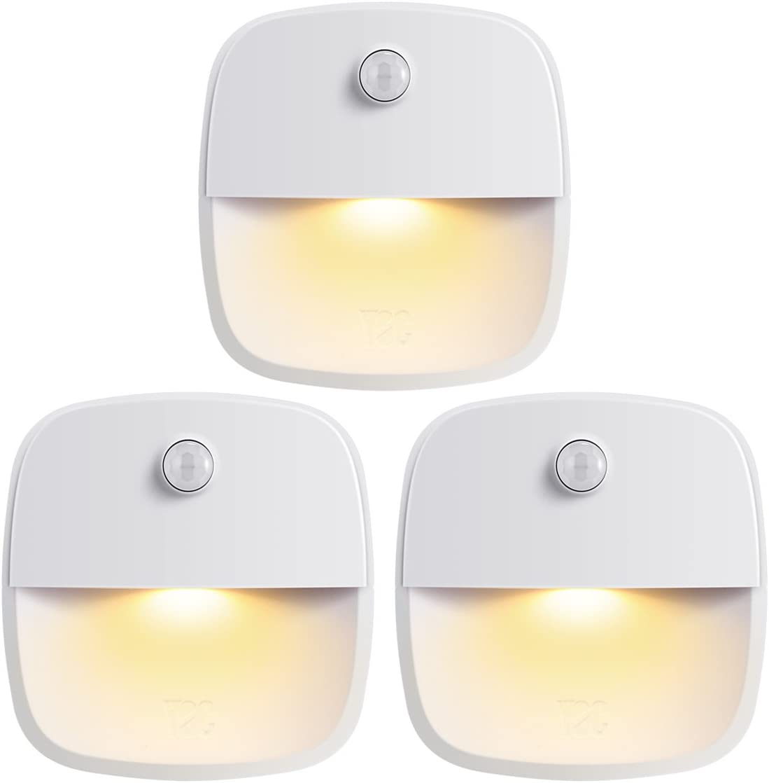 AMIR (Upgraded Version) Motion Sensor Light, Cordless Battery-Powered LED Night Light, Wall Light, Closet Lights, Safe Lights for Stairs, Hallway, Bathroom, Kitchen, Cabinet (Warm White - Pack of 3)