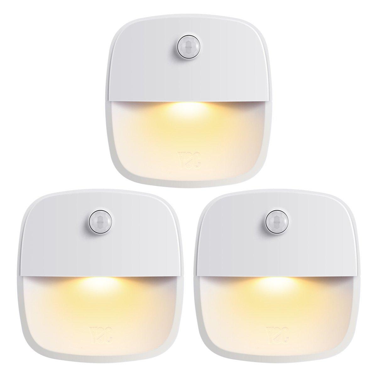 AMIR Motion Sensing Light, Stick-on Anywhere Battery-Powered LED Night Light, Stair Lights, Safe Light for Bathroom, Hallway, Bedroom, Kitchen (Warm White, 3-Pack)