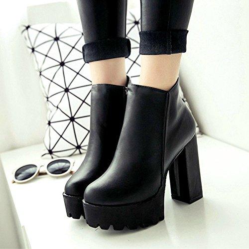 único elegante de grueso de Martin botas y impermeable lateral Taiwán alto tacón zapato cremallera Negro tacón f1xSIWq4