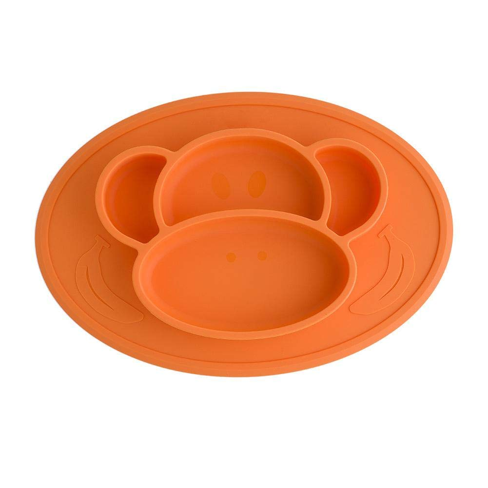 PER Baby One-Piece Placemat Food Plate Eating Mat Food Grade Silicone Bpa Free For Kids Toddlers-Green