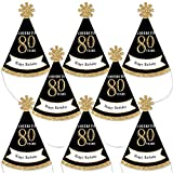 Big Dot of Happiness Adult 80th Birthday - Gold - Mini Cone Birthday Party Hats - Small Little Party Hats - Set of 8