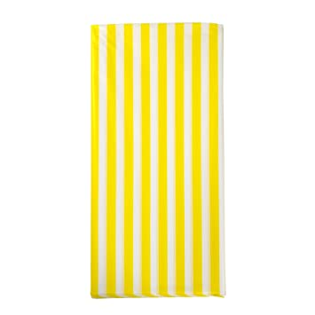 Pack Of 3 Plastic Yellow And White Striped Print Tablecloths   3 Pack    Party Picnic
