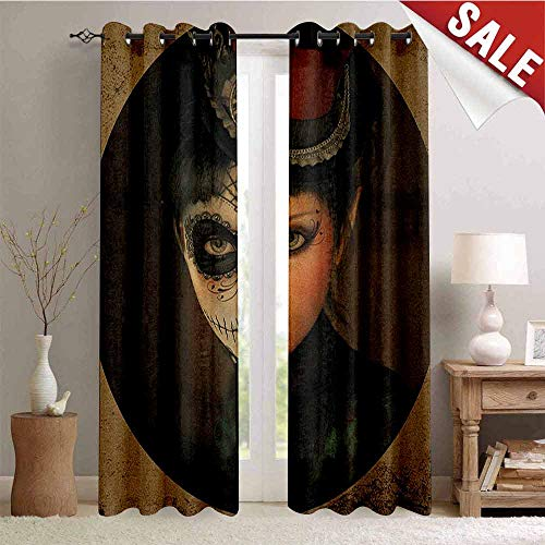 Hengshu Sugar Skull Window Curtain Fabric Antique Portrait Girl with Calavera Inspired Makeup and Topper Realistic Design Drapes for Living Room W72 x L108 Inch Multicolor]()