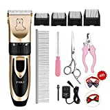 Dog Cat Clippers,Professional Cordless Heavy Duty Quiet Rechargeable Dog/Pet Grooming Clippers Kit,Pet Clippers for Small/Large Dogs,Animal Clippers for Long Hair/Thick Coats,Dog Hair Clippers