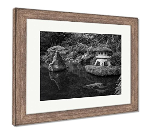 (Ashley Framed Prints A Lantern and Waterfall in The Portland Japanese Garden, Wall Art Home Decoration, Black/White, 26x30 (Frame Size), Rustic Barn Wood Frame, AG6504220)