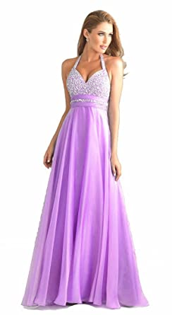 atopdress T8 lilac Evening helterneck prom sequined gown evening dress (16, Lilac)