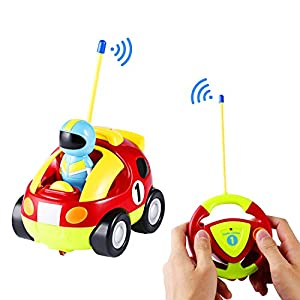 Race Car Radio Control Toys - ICOCO R/C Race Car Radio Control Toy Gift/ Music Radio Control Toy/ RC Cartoon Race Car with Music and Lights for Baby Toddlers Kids Young Children Learning to Play