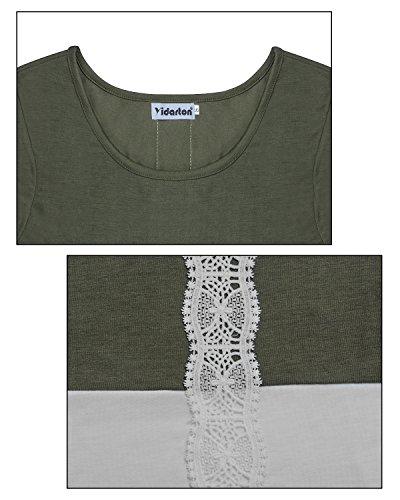Righe Donne T Verde Camicetta Lunghe A shirt Lungo Maniche Pizzo Yidarton Felpa Manica Camicia U4qBq18w