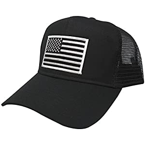 USA American Flag Patch Snapback Trucker Mesh Cap - Black