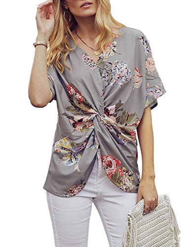 Dokotoo Womens Blouse Fashion Ladies Summer Spring Batwing Short Sleeve V Neck Floral Print Twist Front Blouse Tops Casual Loose Fit Plain Shirts Grey X-Large