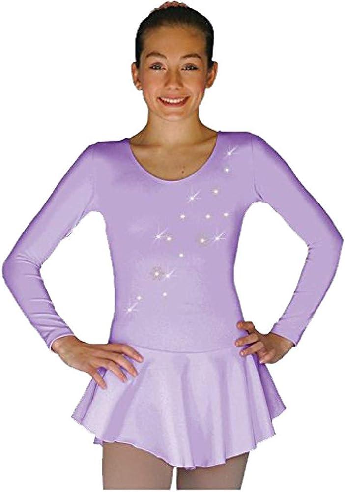 ChloeNoel DLP728 Plain Solid Sanded Poly Spandex Figure Skating Dress Light Lilac w/Snow Flakes: Clothing