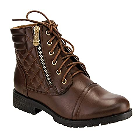Beston DE12 Women's Quilted Lace Up Side Zipper Wallet Pocket Ankle Booties, Color:BROWN, Size:7