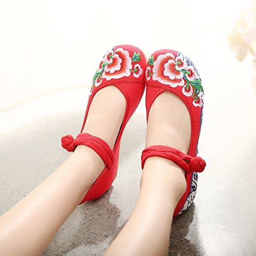 Per Di Fondo Scarpe Le Gules Alto A scarpe Col Ballare Inclinazione Ricamato Doppio Tacco Khskx Pechino Con OwzZqI