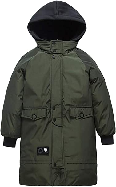 Kids Boys Parka Waterproof Warm Hooded School Jacket Coat Outwear 3-5 Years