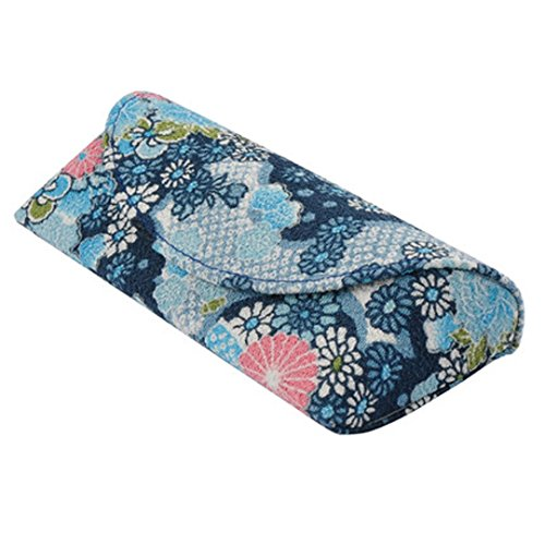 Yulan Women's Floral Patterns Linen Soft Eyeglasses Case for Glasses and Sunglasses(Blue)