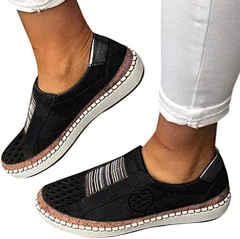 MiniYoo Women Flats Shoes Slip On Casual Canvas Shoes Lazy Loafers Breathable Female