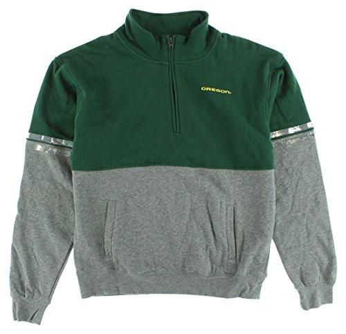 Colosseum Womens Oregon Ducks Rudy Quarter Zip Sweater Heather Grey M