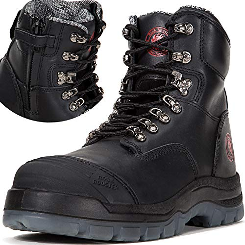 ROCKROOSTER Men's Work Boots, Zipper, Steal Toe, Antistatic, Safety Leather Shoes, Pull On Water Resistant,Width EEE-Wide (AK245Z, US 9)