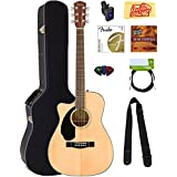 Fender CC-60SCE Concert Acoustic-Electric Guitar - Left Handed, Natural Bundle with Hard Case, Cable, Tuner, Strap, Strings, Picks, Instructional DVD, Polishing Cloth