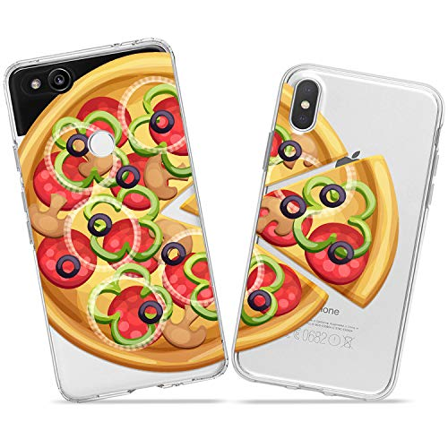 Wonder Wild Pizza Pattern Pair Case iPhone Xs Max X Xr 10 8 Plus 7 6s 6 SE 5s 5 TPU Clear Gift Apple Phone Cover Print Protective Double Pack -