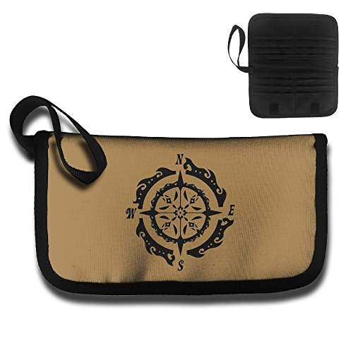 Abstract Nautical Compass Oxford Cloth Ticket Passport Credit Card ID Document Organizer Holder Bag Purse Travel Pouch Case Cover