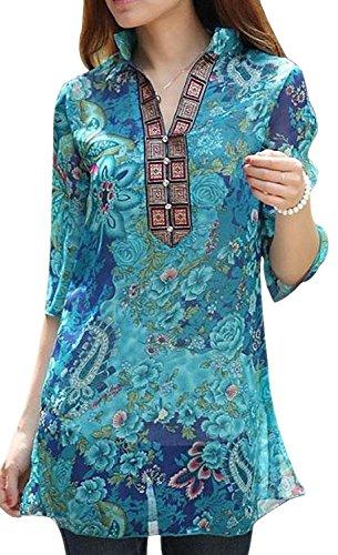 Vonfon Womens Vintage Colourful Floral Print Casual Slim Shirt Blouse Top