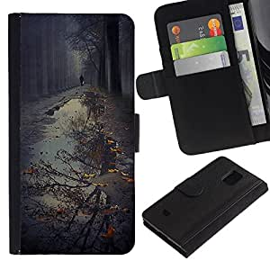 All Phone Most Case / Oferta Especial Cáscara Funda de cuero Monedero Cubierta de proteccion Caso / Wallet Case for Samsung Galaxy S5 Mini, SM-G800 // Puddle Reflection Fall Autumn Nature