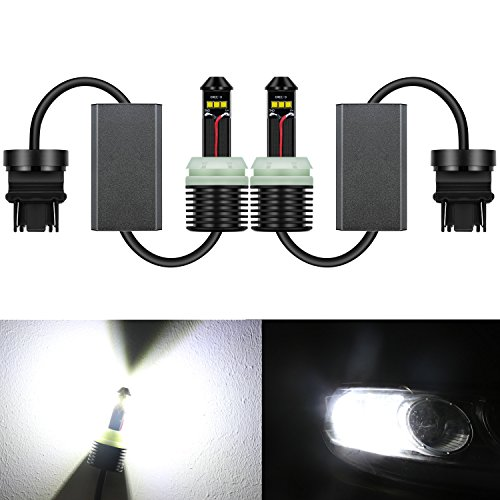 Alla Lighting 1300 Lumens 21W CREE Extremely Super Bright 6000K White 3157 3156 3457NA 4157NA 3056 T25 LED Bulbs for Turn Signal Blinker Light Lamps Replacement