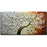 V-inspire Paintings, 24x48 Inch 3D Abstract Paintings White Maple Tree Oil Hand Painting On Canvas Wood Inside Framed Ready to Hang Wall Decoration For Living Room Bed Room