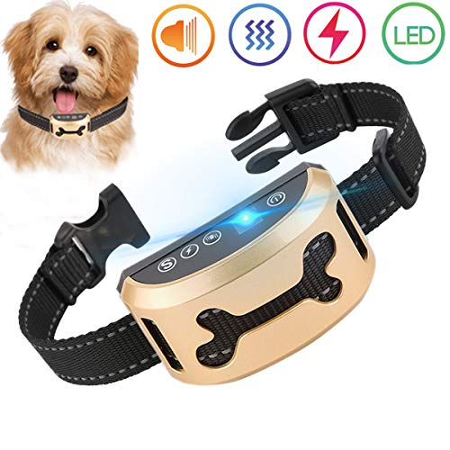 - lushujun Dog Bark Collar, Rechargeable Stop Barking Collar with 7 Adjustable Sensitivity and Intensity Levels, Rainproof Bark Collar for Small Large Medium Dogs (6.5 to 24-inch Neck Size)