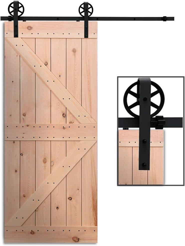 Herraje Puerta Corredera 305cm/10ft Negro, CCJH Riel Puerta Corredera Armario, Adecuado para 1 Puerta de 153 cm de Ancho [J Shape Big Wheel Hanger]: Amazon.es: Bricolaje y herramientas